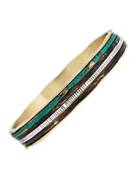 "Silpada 'Isabella Spinner' Sterling Silver and Brass Bangle Bracelet, 7.5"""