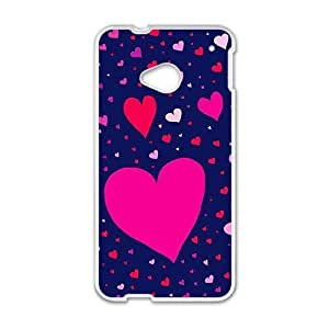 cute colorful heart lovely blue background personalized high quality cell phone case for HTC M7