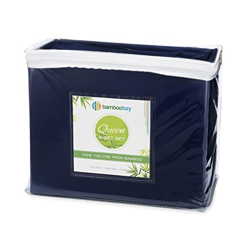 100% Viscose from Bamboo Sheets | Soft, Cool and Durable 6-Piece Bamboo Sheet Set - Extra Deep Pocket, No Slip Fitted Sheet | Certified Hypoallergenic, Sustainable and Eco-Friendly (Queen, Navy Blue)