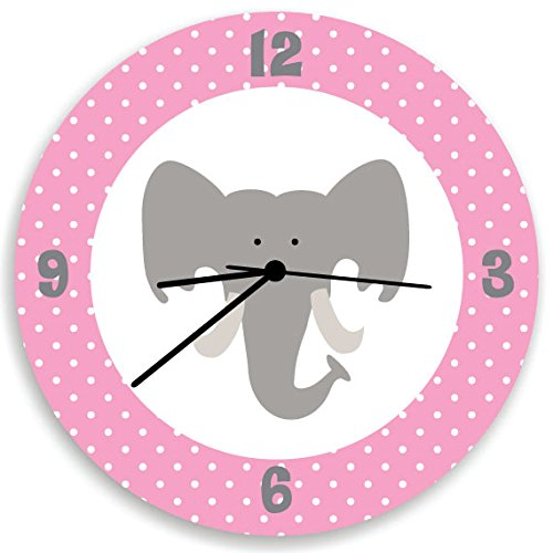 - Elephant Baby Girl Wall Clock, Cute Pink Elephant Head, White Polka Dots and Pink Back, Girls Wall Nursery Decor with Elephant