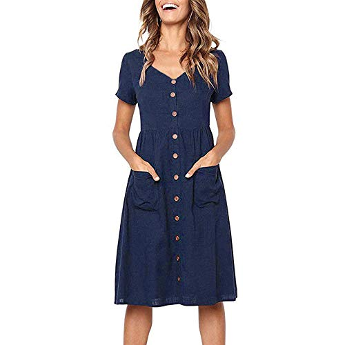〓COOlCCI〓Women Dresses-Short Sleeve V Neck Button T Shirt Midi Skater Dress with Pockets Mini Dress T-Shirts Dress Navy