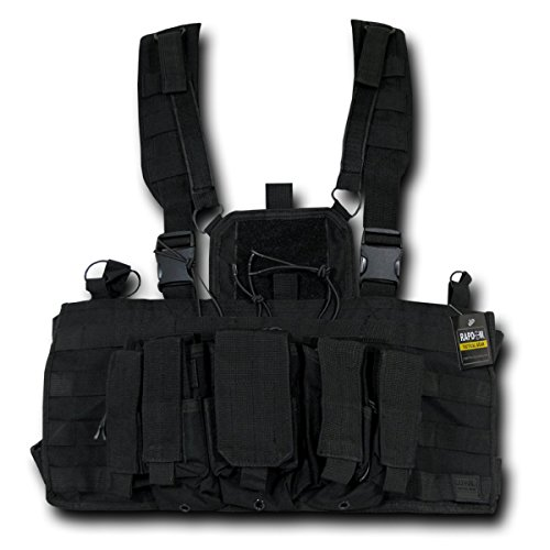 RAPDOM Tactical Molle Chest Heavy Duty Chest Pull Tabs Rigs, Black, One Size by Rapdom Tactical