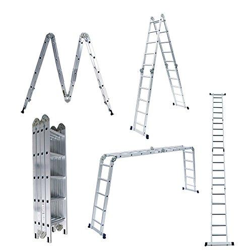 Yorbay Aluminum Mehrzweckleiter Kombileiter Leiter Gerüst [in verschienden Typen und Größen] (Mehrzweckleiter 4x5 Sprossen ohne Platten)