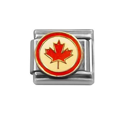 (SEXY SPARKLES Canadian Flag Italian Charm Bracelet Link 9mm)