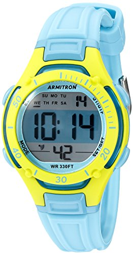 Armitron Women's 45/7062BLU Lime Green Accented Digital Chronograph Light Blue Resin Strap Watch