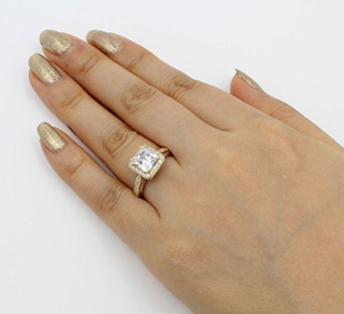 14K Solid Yellow Gold Cubic Zirconia Princess Cut Halo Wedding Engagement Ring with Side Stones, Size 7 by Paradise Jewelers (Image #4)