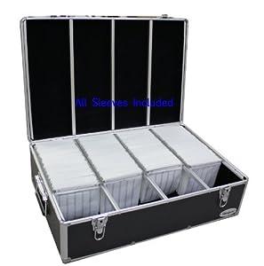 1000 cd dvd black aluminum hard case for media storage holder w hanger sleeves - Dvd case holder shelf ...