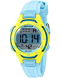 Armitron Womens 45/7062BLU Lime Green Accented Digital Chronograph Light Blue Resin Strap Watch