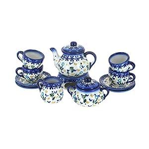 Blue Rose Polish Pottery Yellow Daisy Miniature Tea Set
