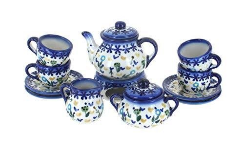 Blue Rose Polish Pottery Yellow Daisy Miniature Tea Set (Polish Pottery Miniature Tea Set)