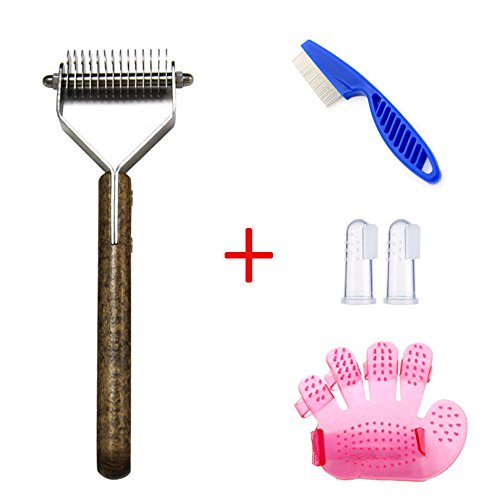 xj Stainless Steel with Wooden Handle Extra Wide Undercoat Rake for Medium to Large Dogs, Cats,