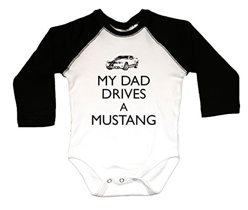 Dad Drives Mustang-Long Black Sleeves, Raglan Style, 100% Cotton, 7.5 Knit, Baby Bodysuit, Funny Baby Shirt (12-18)