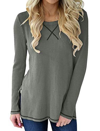 Minthunter Women's Long Sleeve Shirt Crew Neck Knit Thermal Top Cute Tunic