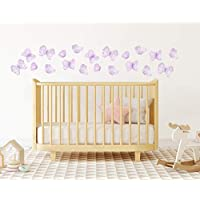 Lavender Butterfly Nursery Wall Decals Vinyl Wall Stickers Peel and Stick Removable Lilac Girls Bedroom Decor - Set of 20