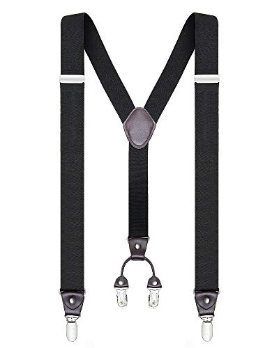 Buyless Fashion Mens 48 Elastic Adjustable 1 1/4 Suspenders In Y Shape