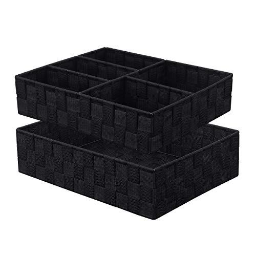 KEDSUM Woven Storage Box Cube Basket Bin Container Tote Cube Underwear Bra Organizer Divider for Drawer, Dresser, Closet, Office, Set of 2, Black