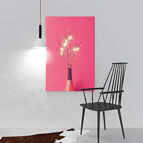 aolankaili Wall Art Frameless Champagne Bottle with Sparklers on Pink Background for Living Room, Bedroom,Hotel and so on W12 x H18 for $<!--$14.99-->