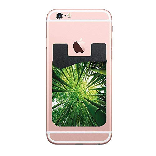 CardlyPhCardH Upward Bamboo Stems in Jungle Rainforest Exotic Lush Tree Woodland Shadows Picture Authentic Cell PhoneCard Holder Stick on Wallet Pouch for Apple iPhone 2 PCS