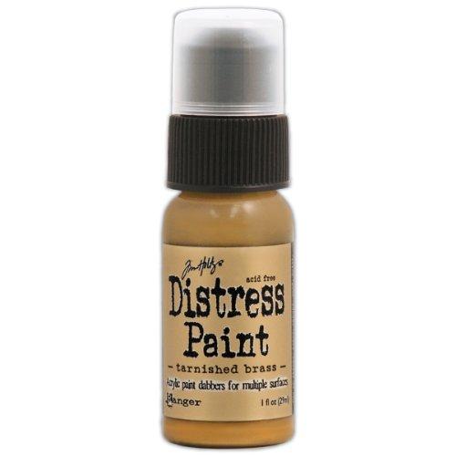 Antique Brass Paint - Ranger TDD-36487 Tim Holtz Distress Paint Bottle, 1-Ounce, Tarnished Brass