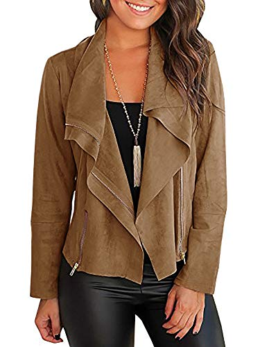 YOMISOY Womens Suede Jackets Lightweight Casual Zip up Long Sleeve Loose Draped Lapel Faux Fall Coat Outwear