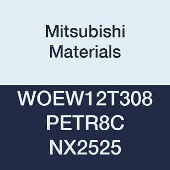 0.031 Corner Radius Class E Mitsubishi Materials WOEW12T308PETR8C NX2525 Cermet Milling Insert Pack of 10 Wiper Uncoated
