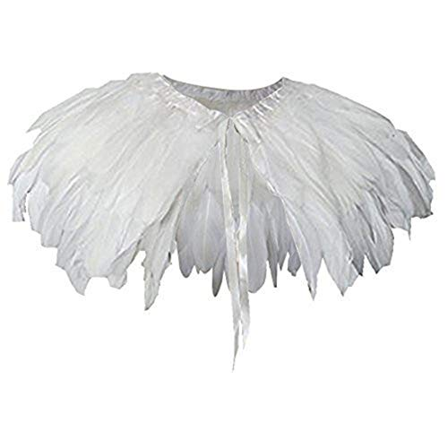 Homelix White Black Feather Cape Shawl Collar (F02-white)