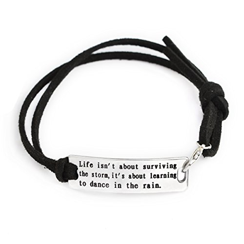 Black Stamped Leather (QIHOO Fashion Inspirational Words Messaged Stainless Steel Hand Stamped Leather Cuff Bracelets (Black-Life isn't about surviving the storm,it's about learning to dance in the rain))