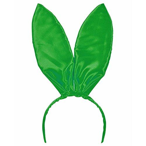 Green Satin Bunny Ears - Glossy Satin Bunny Ear Headband In Bright Green (Bunnies In Costumes)