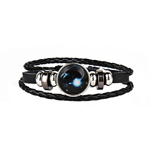 JSPOYOU Promotions Women Constellation Leather Bracelet Punk Bracelet Faux Leather Bracelet Unisex's Braided Bangle (Platinum Set Brooch)