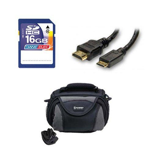 Panasonic HC-V250K Camcorder Accessory Kit includes: SD4/16GB Memory Card, SDC-26 Case, HDMI6FM AV & HDMI Cable by Synergy Digital