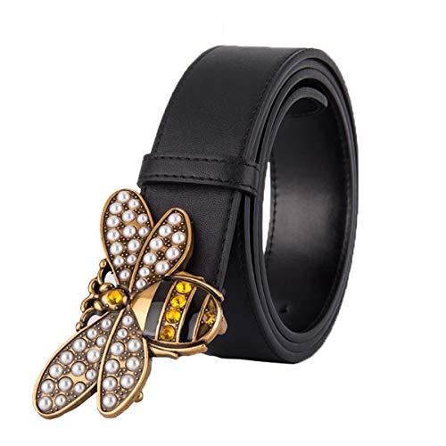 Womtop Women Belts Fashion Design Leather Pearl Buckle Belt Casual Business Waist Belts (Yellow, 110 CM)