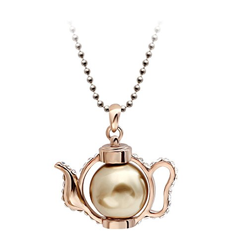 SENFAI 3d Retro Teapot Pendant Necklace Crystal Pearl Teakettle Long Sweater Chain Necklace (31 Inches)