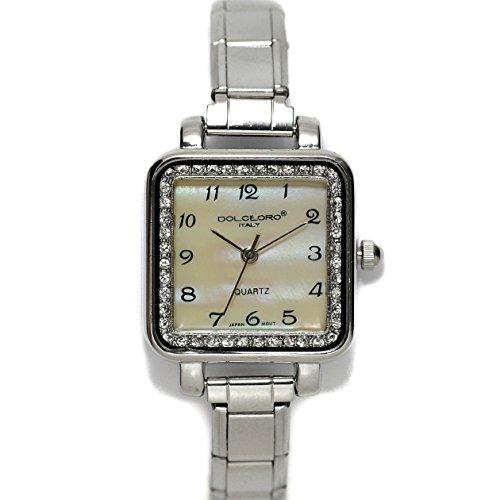 Pearl Champagne, Cubic Zirconium Italian Charm Bracelet Watch 9mm Link Type, - Charm Italian Birthstone Square