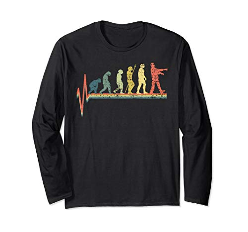Zombie T-Shirt Long Sleeve Evolution Funny Vintage - Long Zombies Funny Sleeve