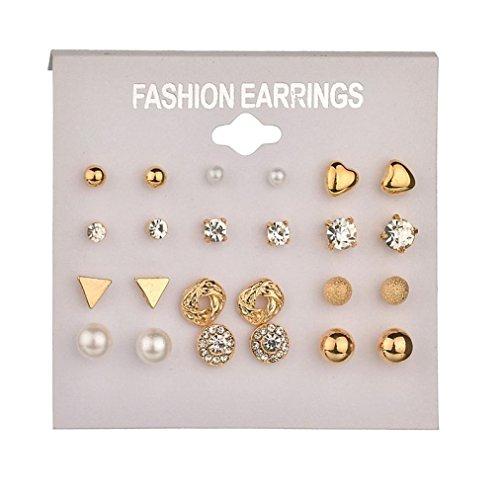 Earrings for Women Girl, 12 Sets of Earrings Women 2018 Fashion Heart Triangle Round Rhinestone Stud Earrings (Multi)