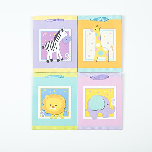 "[12 bags] Baby Shower Gift Bags With Handles - Boy or Girl - 4 Different Animals (7*4*9"" Medium)"