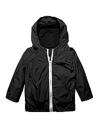 Arshiner Little Kid Waterproof Hooded Coat Jacket Outwear Raincoat,Black,Size 100