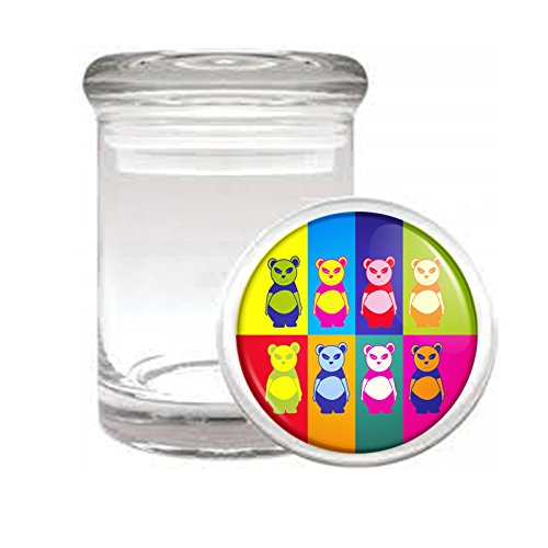 "Medical Glass Stash Jar Pop Art Pop Icon Pandas S6 Air Tight Lid 3"" x 2"" Small Storage Herbs & Spices"