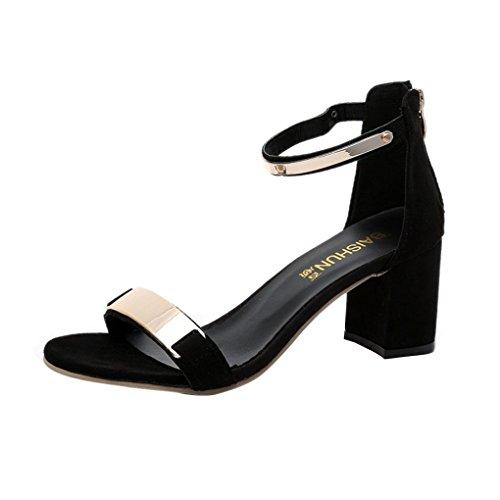 Malloom Sandalias de verano las mujeres de los pies abiertos sandalias zapatos de tacón grueso Gladiador Negro
