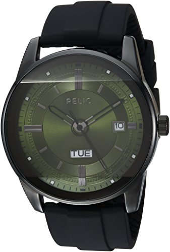 Relic by Fossil Men's Everet Analog-Quartz Watch with Silicone Strap, Black, 24: ((Model: ZR12227)) ()
