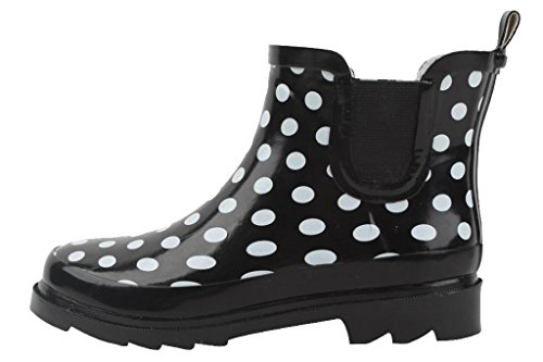 Women's Print Welly Waterproof Select Black Ankle Dot Pattern Boot Polka Cambridge 4qT5t1xw1