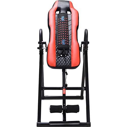 GYMAX Inversion Table, Vibration Massage Heat Comfort Inversion Table Adjustable Headrest Ultra-Thick Back Support for Home, Max Load Capability 300 lbs