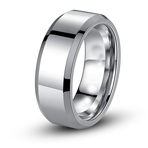 MABELLA His and Hers Wedding Ring Sets 3 Stone Womens Silver CZ Ring Set and Mens Stainless Steel Matching Wedding Band by MABELLA (Image #3)