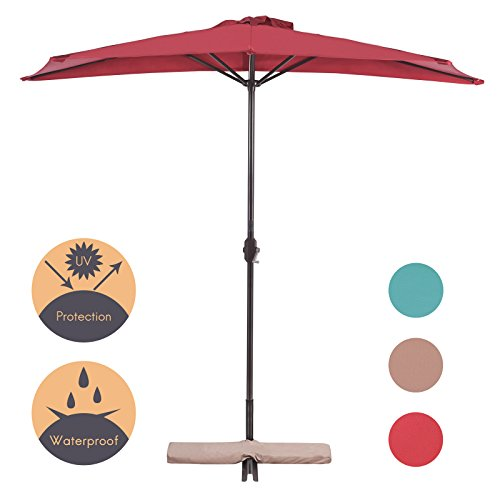 inum Half Umbrella Table Market Patio Umbrella with T-Cross base,5 Steel Ribs,100% Polyester Canopy(Red) (Half Base)