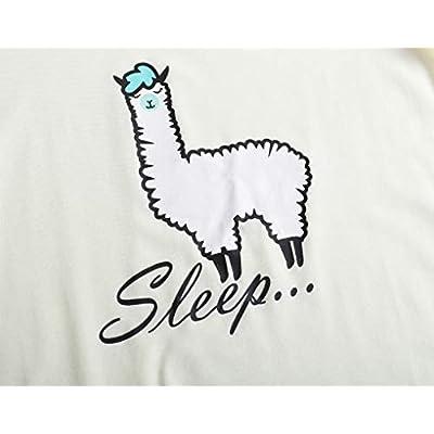 YIJIU Women Short Sleeve Tee and Shorts Pajama Set Cute Alpaca Print Sleepwear at Women's Clothing store