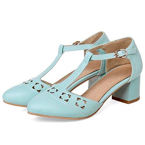 COOLCEPT Zapato Mujer Moda Comodo Hollow Correa En T Medio Chunky Tacon Sandalias for Vestir Trabajo Oficina Azul