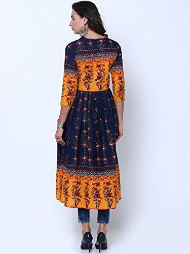 Women Fashion Kurti Navy Angel amp; Kurta Blue Dream Anarkali Women Yellow Mustard Dress Printed FZqC1Cxw