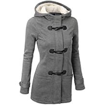 DOKER Women's Wool Windproof Single Breasted Cashmere Hoodie Coat