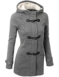 DOKER Women's Wool Windproof Single Breasted Cashmere Hoodie Coat