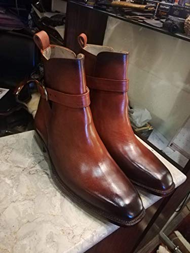 (Handmade Cognac Patina Dress Ankle High Boots For Men Custom Made Shoes for)